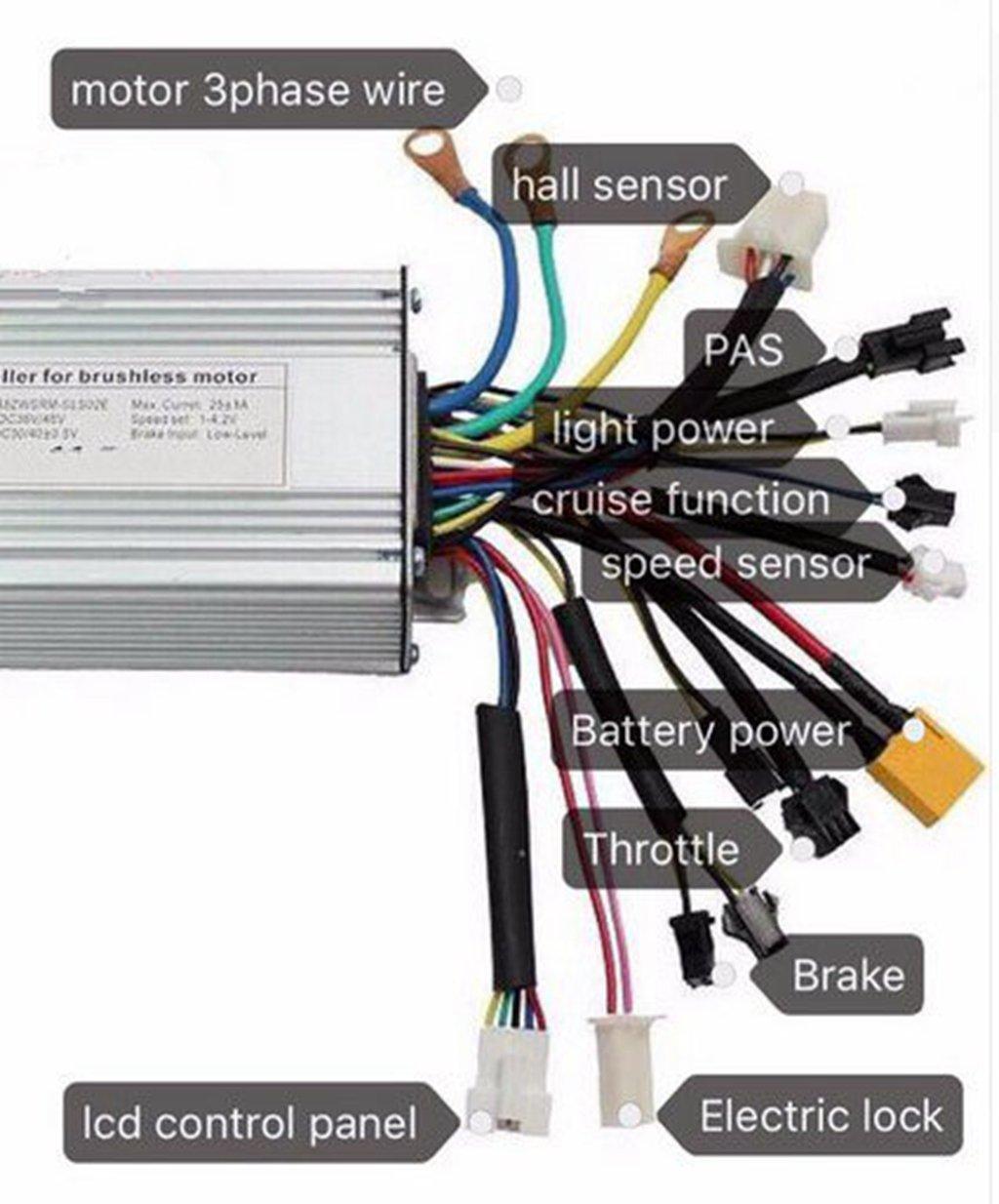 Silver 36v 48v 45a Brushless Dc Sine Wave Controller E Motor Wiring Diagram Bike Regenerative Brakingfor 1500w 1000w Electric Bicycle