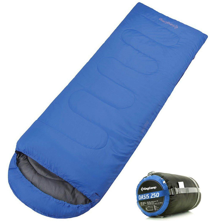 KingCamp Oasis 250 all season暖かい快適簡単圧縮Envelop with Hood Sleepingバッグ、44 °F、キャンプ、ハイキング、ホーム、Carry Bag Included、グリーン B01MYZMC3K ブルー ブルー