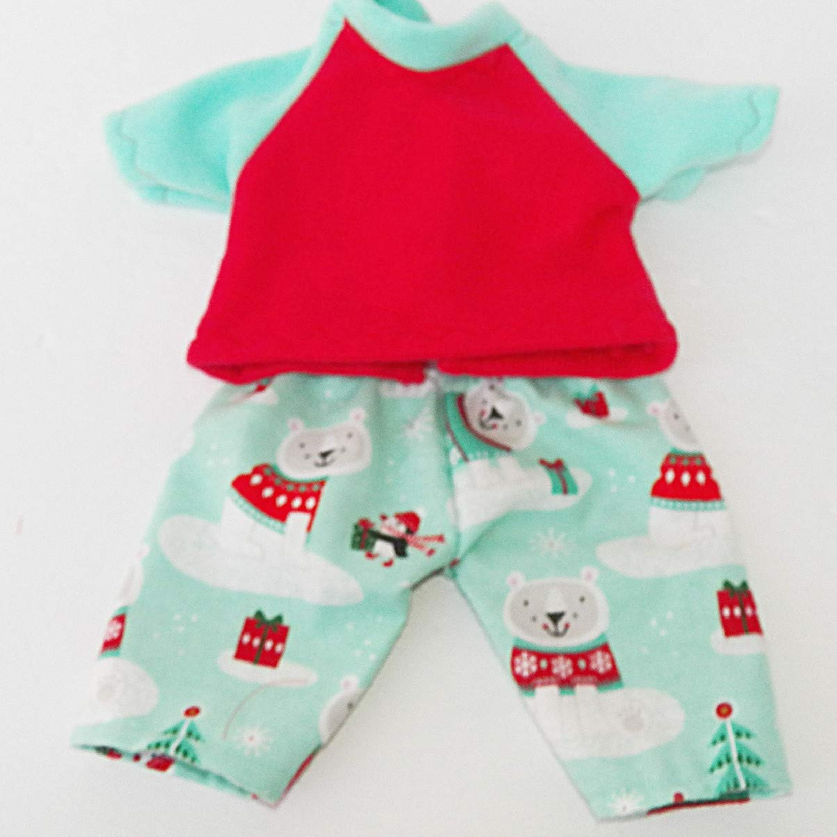 Christmas Cabbage Patch Doll Clothes Polar Bear Flannel Pajamas Fits 16 inch Boy
