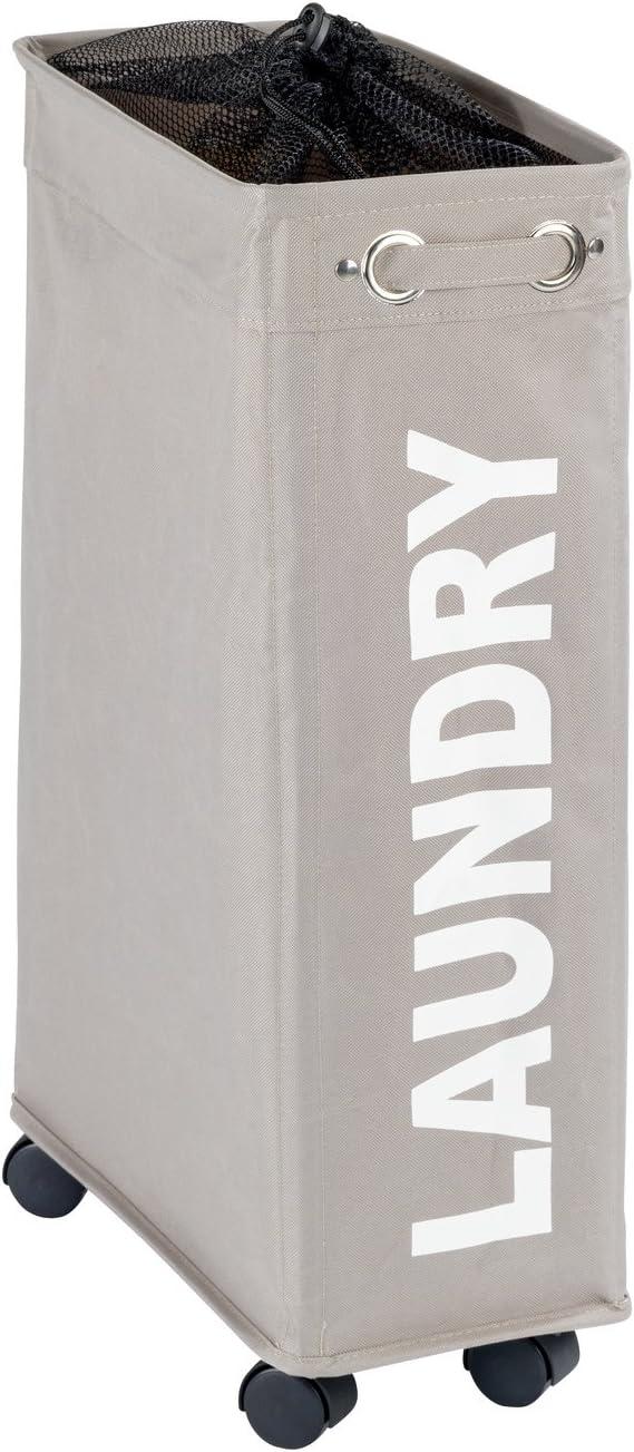 WENKO Bin Corno Taupe-Laundry Basket, Polyester, Grey , 40 x 18.5 x 60 cm