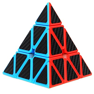 Dreampark Pyramid Speed Cube, Triangle Carbon Fiber Sticker Twisty Puzzle for Kids' Intelligence Development, Speed Cubing Beginners or Puzzle Enthusiasts: Toys & Games