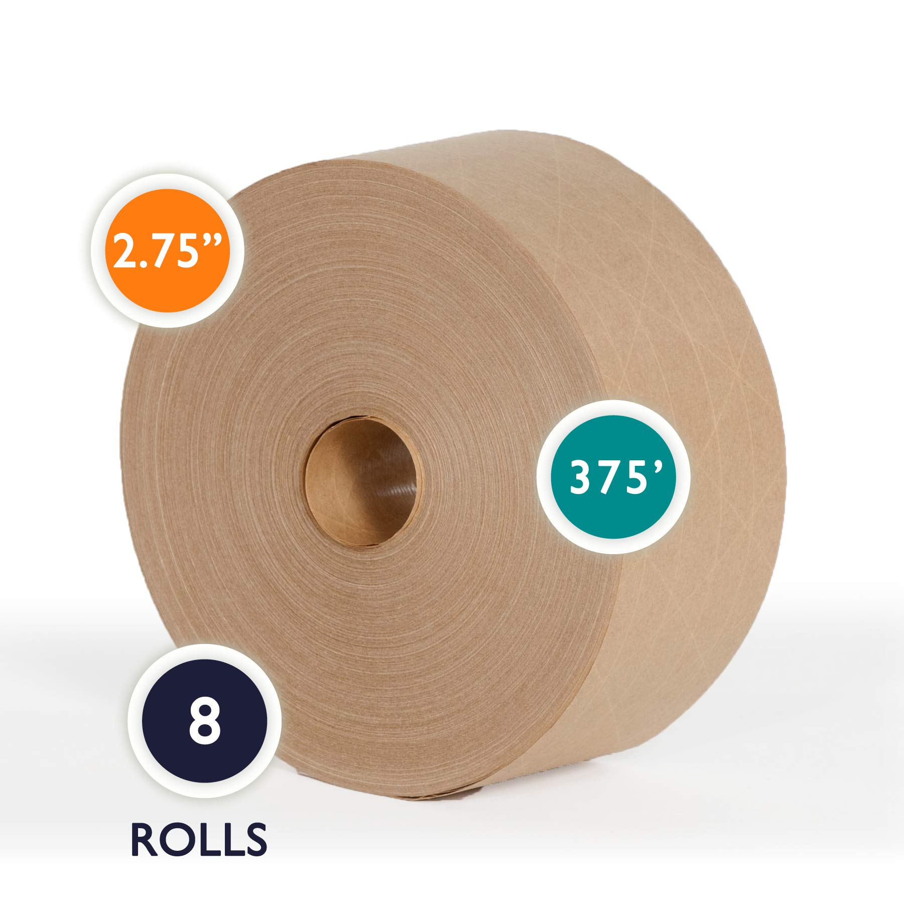 2.75'' x 375 Ft Reinforced Gummed Kraft Paper Tape 2.75 Inch x 375 Ft Water Activated Ultra-Sticky Kraft Packaging, Case of 8 Rolls
