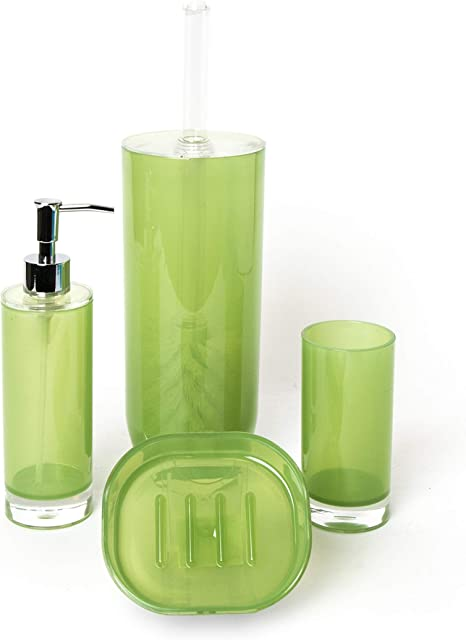 Accessori Bagno Verde Acqua.Excelsa Caldo Set Accessori Bagno Verde 4 Pezzi Amazon It Casa E Cucina