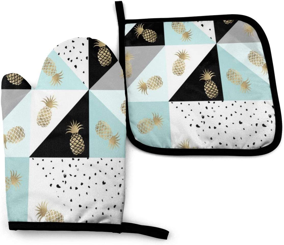 Oven Mitts and Pot Holders Set,Watercolor Pineapples Dots Quatrefoi Washable Heat Resistant Kitchen Non-Slip Grip Oven Gloves for Microwave BBQ Cooking Baking Grilling