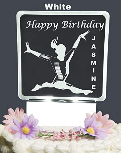Amazon Happy Birthday Gymnast Themed Personalized Lighted Cake Topper Acrylic LED Light Up Handmade