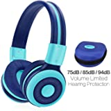SIMOLIO Foldable Bluetooth Headphones with 75dB,85dB,94dB Volume Limit for Kids Teens and Adults, Built-in Mic and Share Port, Soft Earmuffs, Hard EVA Case, Aux Cord, Wireless and Wired Headphone-Mint