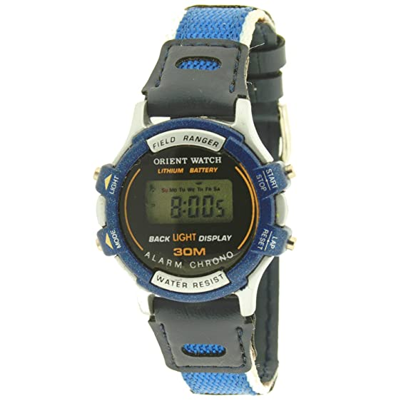 Reloj digital ORIENT WATCHpara niño o mujer (33 mm) - Crono, Alarma, Luz - Azul: Amazon.es: Relojes