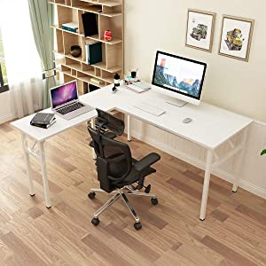 SogesPower L-Shaped Computer Table Home Office Desk Computer Desk Multifunctional Desk Workstation, Meeting Desk, Large Study Desk, Studio Table, White, SPND-AC11DW