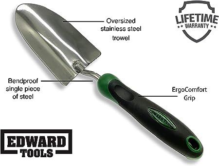 Wood Grip Metal Shovel Trowel Garden Yard Hand Tool 10 inch Green B8P7