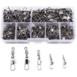 Croch 300PCS Barrel Swivel with Safty Snap Connector Fishing #10, 8, 6, 4, 2
