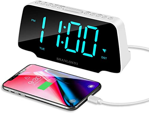 SHANLONYI Alarm Clock Radio with 9 Inch Cyan LED Display, 3 Dimmer, Snooze, FM Radio, 12 24H, Auto DST, USB Chargers, Battery Backup for Kids, Heavy Sleepers, Elderly