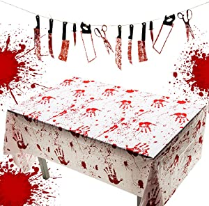 100 × 50 inches Halloween Bloodstained Handprints Table Cloth Table Cover+Realistic Bloody Butcher 12 Hanging Knife Weapons Garland Props Banner for Halloween Party Haunted House Decor