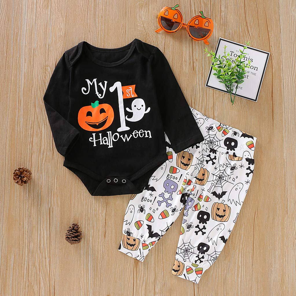 Huarll My 1st Halloween Infant Baby Girl Boy Clothes Halloween Costumes Pumpkin Boo Letter Romper Long Pants Set