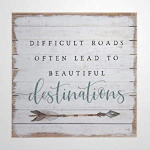 43LenaJon Difficult Roads Often Lead to Beautiful Destinations Perfect Pallet Wooden Sign Wood Plaque Wall Art Wall Hanger Home Decor nc058