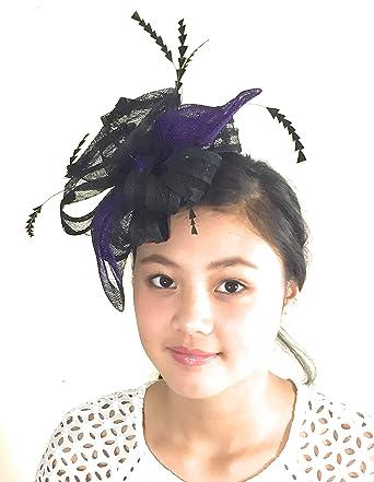 Gab   Koko Formal Black and Purple Floral Fascinator Made of Sinamay ... 86c852c987a