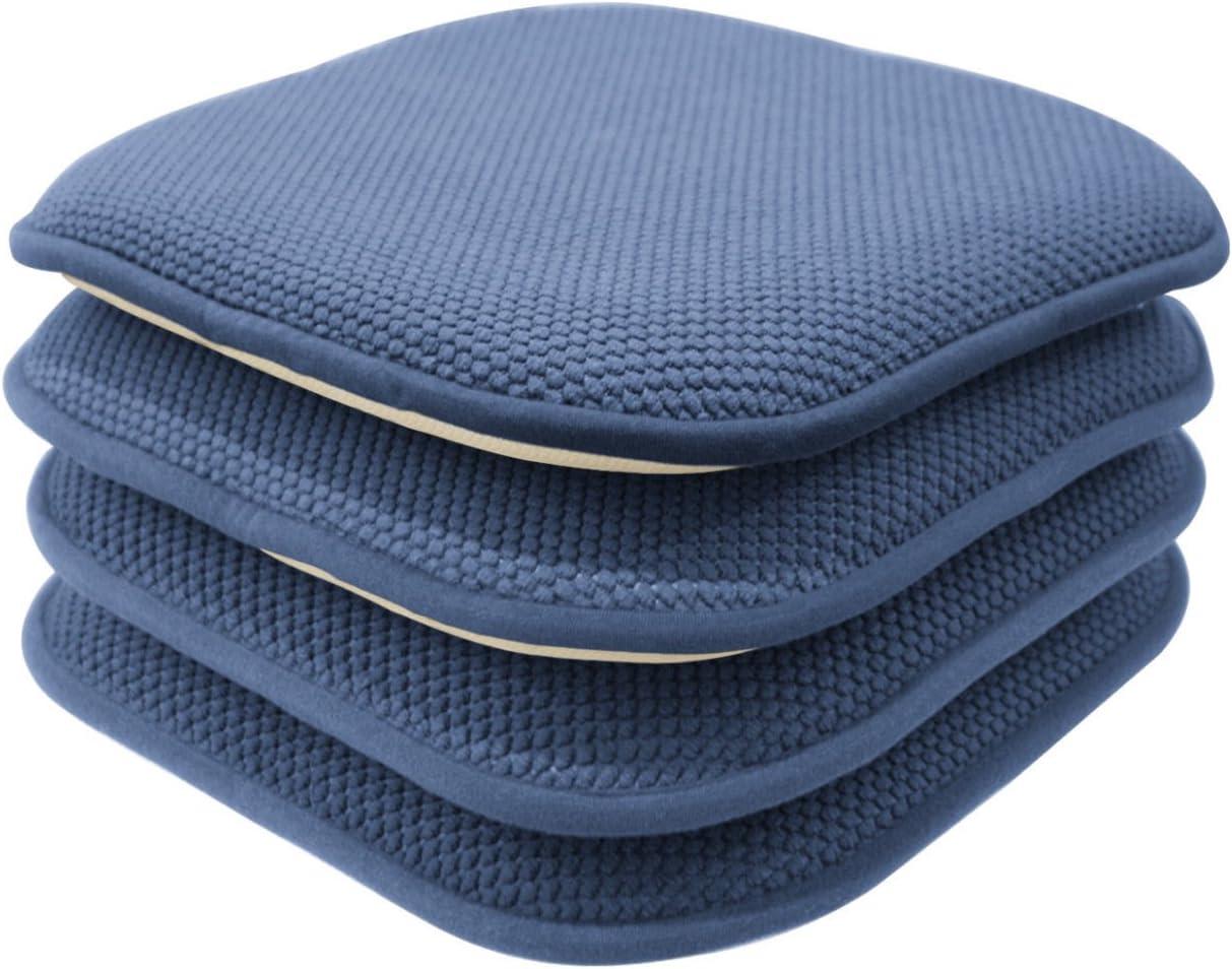 GoodGram 4 Pack Non Slip Ultra Soft Chenille Honeycomb Premium Comfort Memory Foam Chair Pads/Cushions - Assorted Colors (Blue)