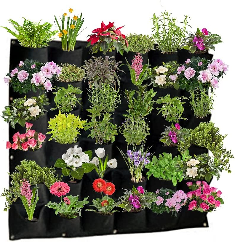 Active Gear Guy Vertical Hanging Outdoor Wall Planter with 36 Roomy Pockets for Herbs, Succulents, Artificial Plants or Flowers. Great Outdoor Wall Decor for Patios and Gardens.