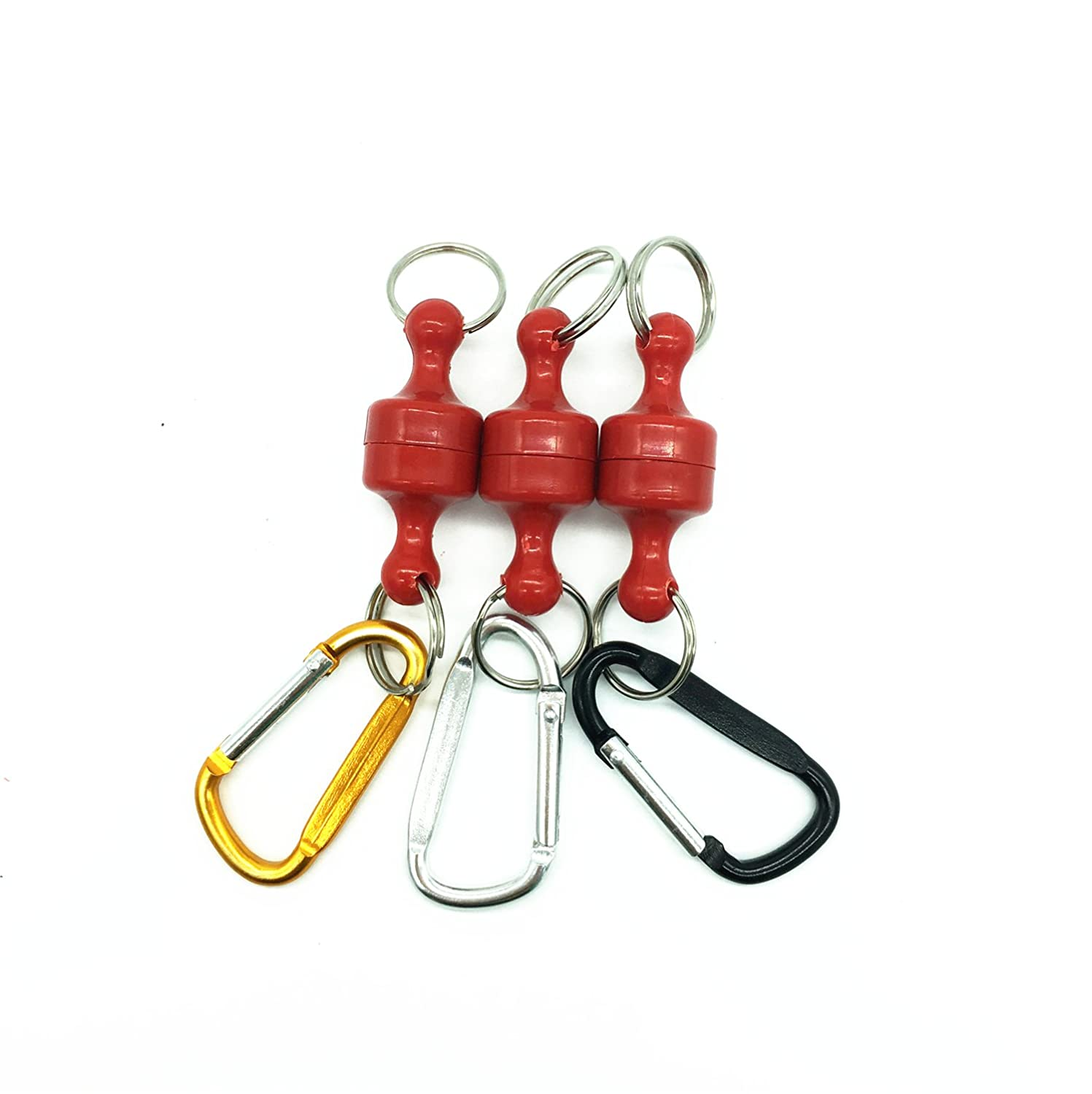 Inf-way 3pcs Super Strong Magnet Split Rings Keychain Hook Hangers Magnetic Net Release Holder / Locking Climbing Carabiners / Refrigerator Magnets