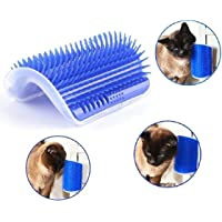 Naladoo Pet Cat Brush Comb Play Toy Plastic Scratch Bristles Arch Self-Groomer Massager Scratcher With Catnip Nailed to Wall, Pet Hair Remover