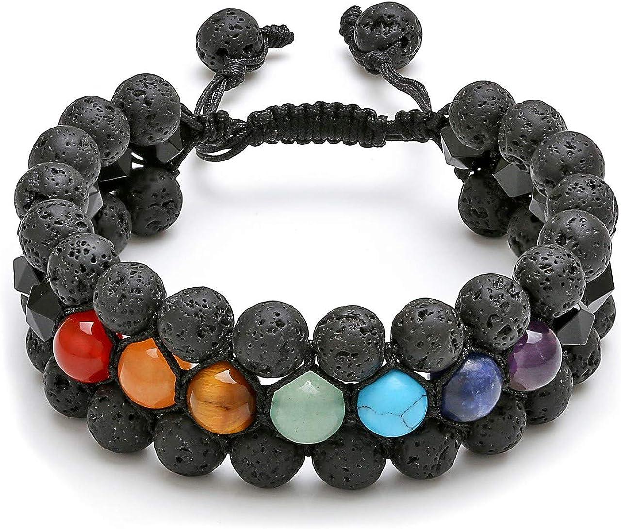 Jovivi Beads Chakra Bracelet Tigers Eye Gemstone Black Onyx Obsidian Lava Rock Stone Essential Oil Diffuser Bracelet Natural Energy Yoga Healing Crystals Bracelet Adjustble for Women Men
