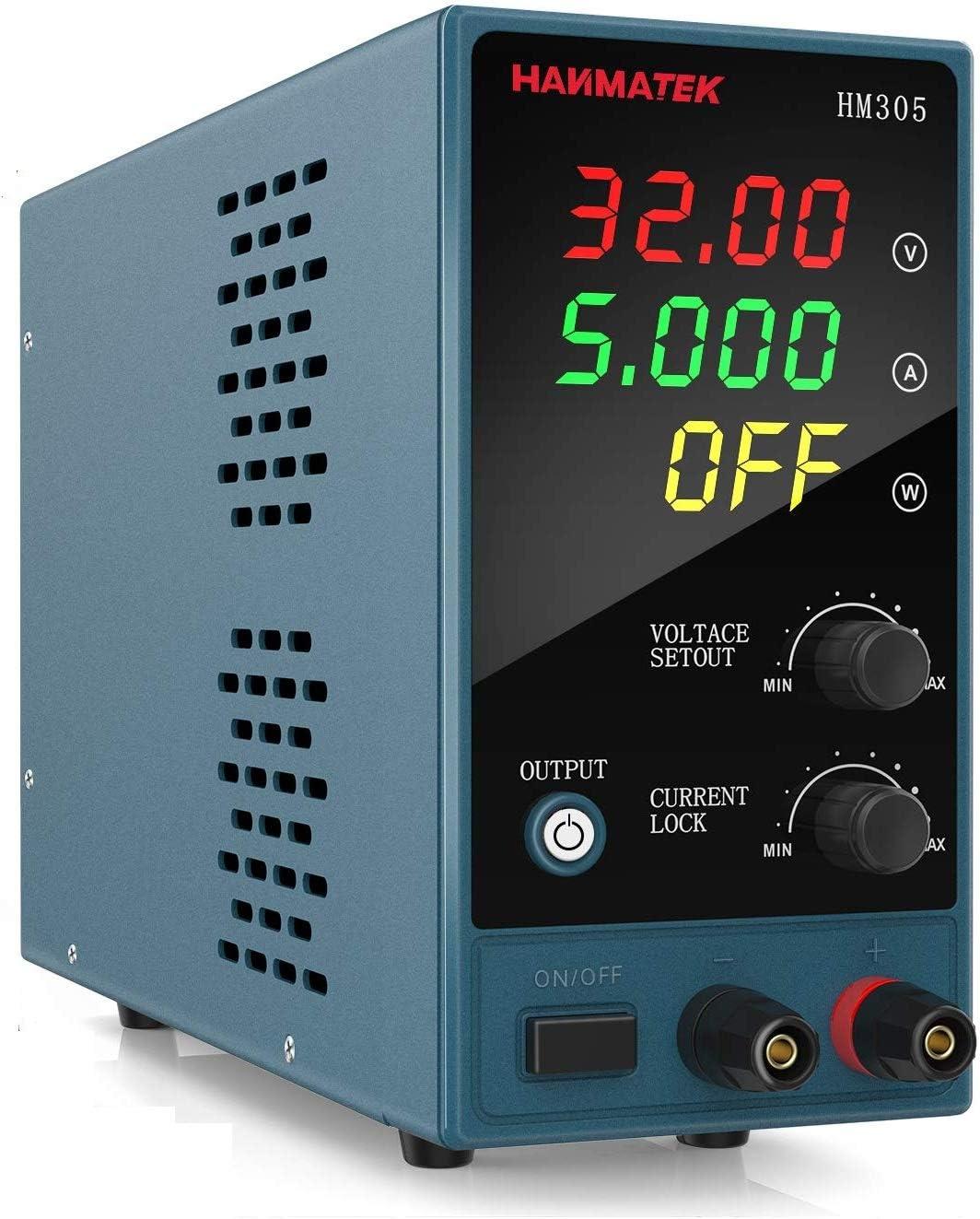 Fuentes de Alimentación Regulables, HANMATEK HM305 Fuentes de Alimentación Laboratorio DC Variable 30 V / 5 A, LED Display de 4 Dígitos, Para Laboratorio, Hogar, Reparación General
