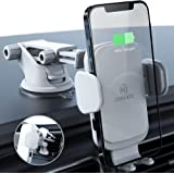 ZeeHoo Wireless Car Charger,10W Qi Fast Charging Auto-Clamping Car Mount,Windshield Dash Air Vent Phone Holder (Leather-White