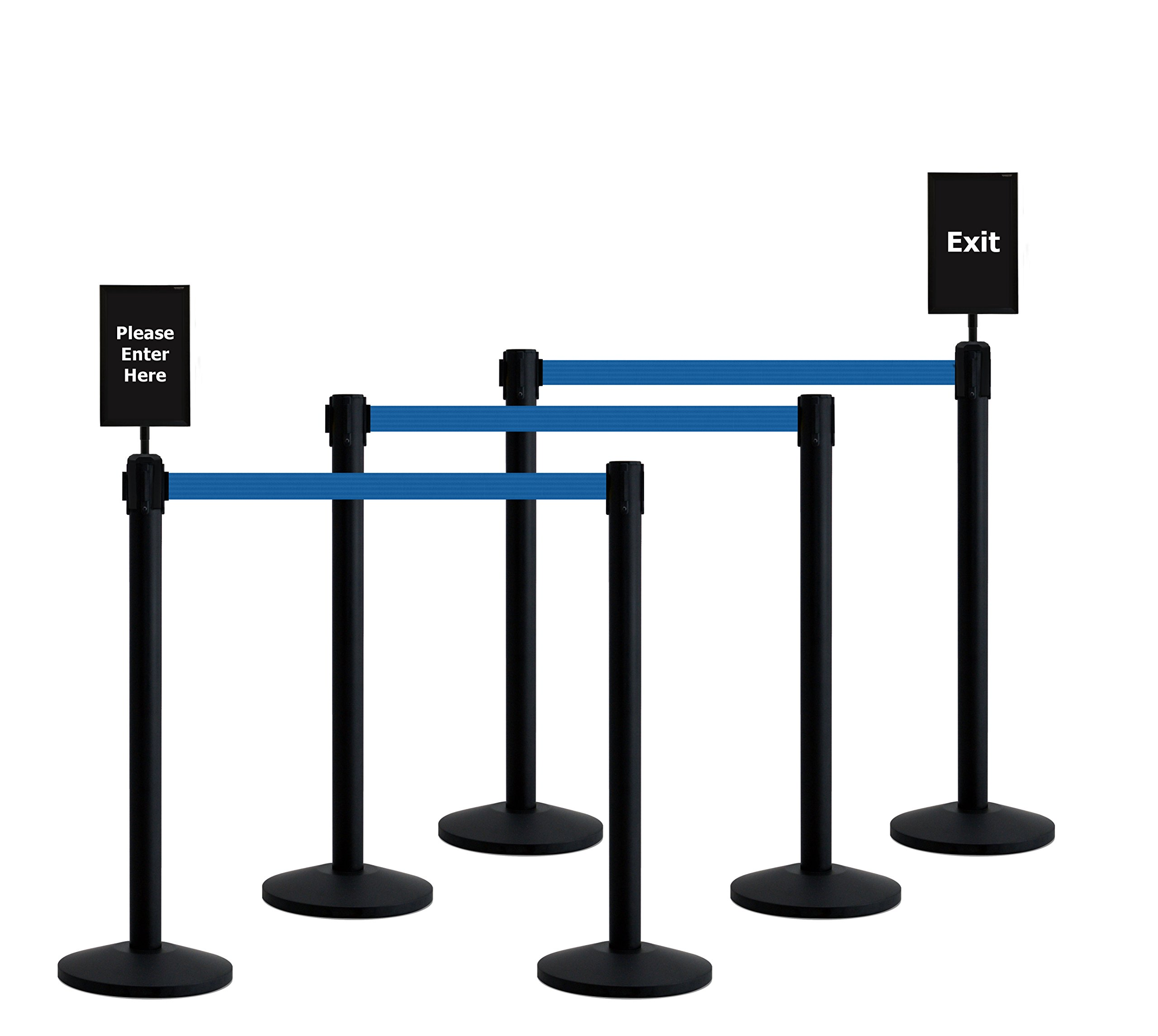 Queueway Crowd Control Retractable Belt Stanchion 6-Pack Kit with Signs USA Made (Blue Webbing)