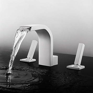 waterfall faucet widespread deck mount tub faucet bathroom fixture two handle vessel sink 3 hole bath faucet dr faucet matte white finished