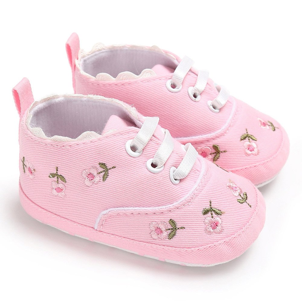 Newborn Baby Girls Floral Crib Shoes Soft Sole Anti-Slip Canvas Baby Girls Sneakers Baby Anti-Slip Canvas Sneakers