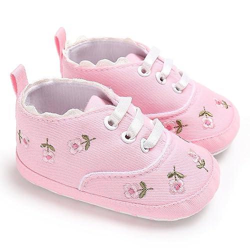Zapatos de bebé, recién Nacidos niñas Cuna Floral Zapatos de Suela ...