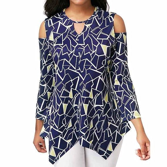 Blusas Mujer, ASHOP Casual asimétrico Impreso Sudaderas Moda Elegantes Ropa en Oferta Camisetas Manga Larga Tops de Fiesta Abrigos Invierno de Mujer Otoño: ...