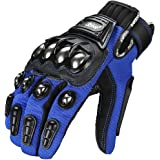ILM Alloy Steel Bicycle Motorcycle Motorbike Powersports Racing Touchscreen Gloves (XXL, BLUE)
