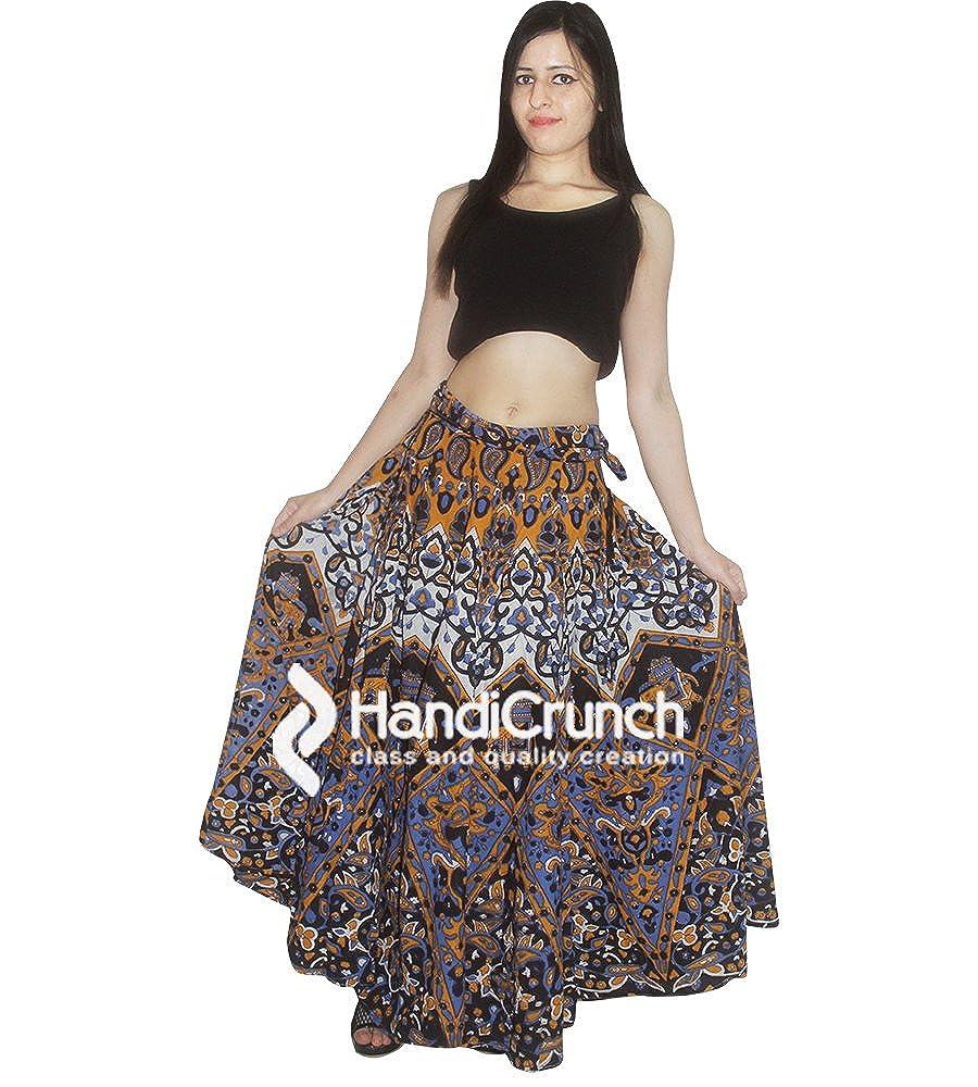 handmade exports Women's Bohemian Rapron,Star Ombre Mandala Floor Length Long Skirts for Girls. RPR-67