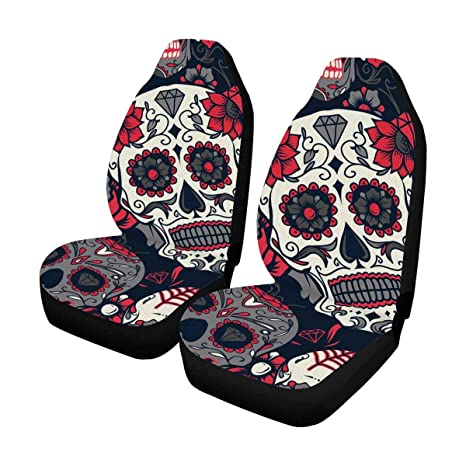 InterestPrint Day Of The Dead Sugar Skull With Floral Auto Seat Covers Full Set 2
