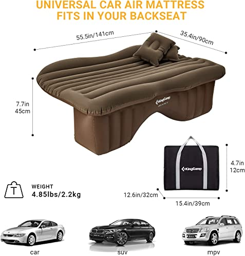KingCamp Universal Car SUV Inflatable Back Seat Air Mattress with Air Pump, 2 Pillows, Portable Camping Car Blow Up Sleep Bed, Flocking Surface, Waterproof, Leak Proof