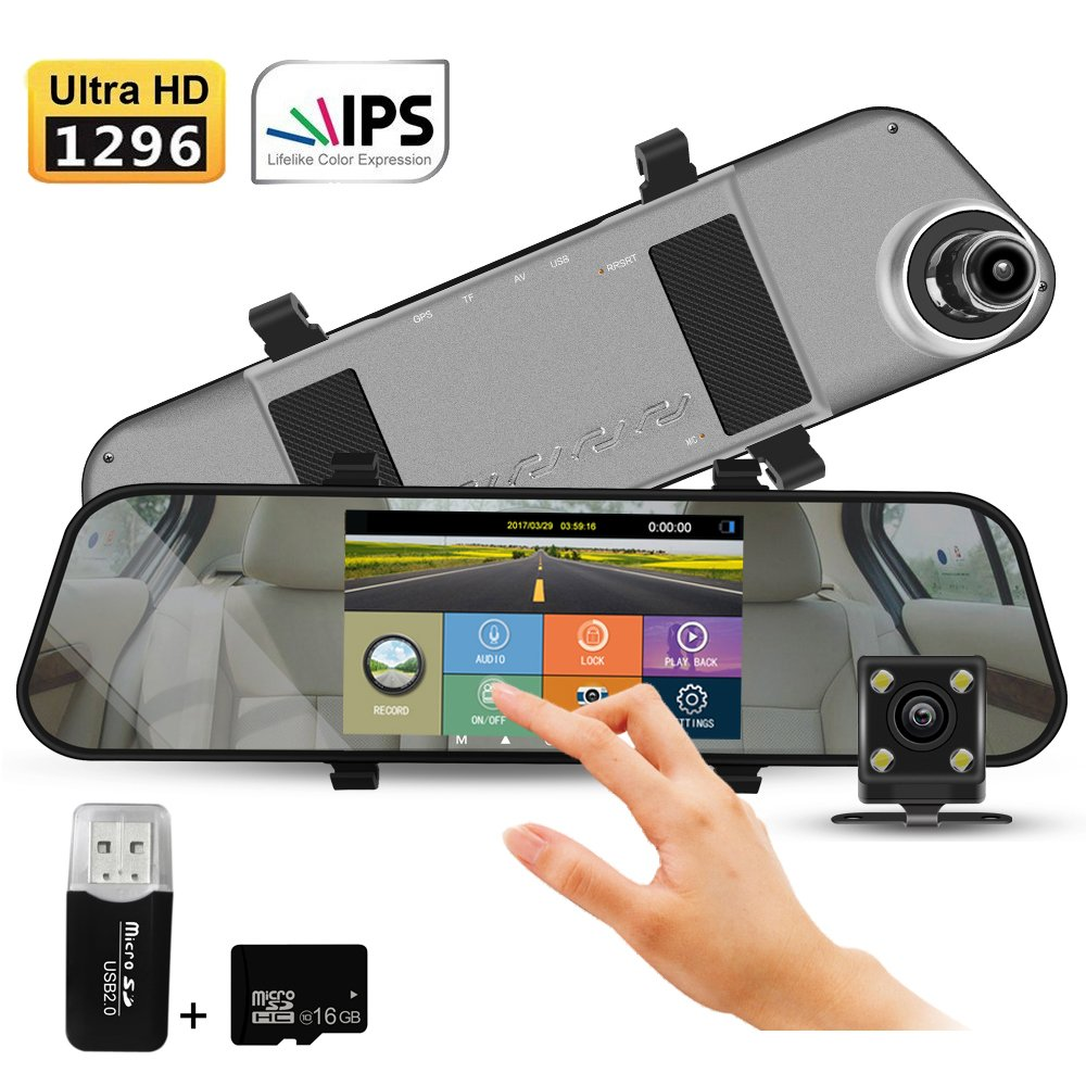 Dash Camera 5.0 inch 170 degree wild angle vehicle monitor 1296p car recorder with G- sensor night vision Motion Detection loop recording Dashboard camera with 16GB TFCard