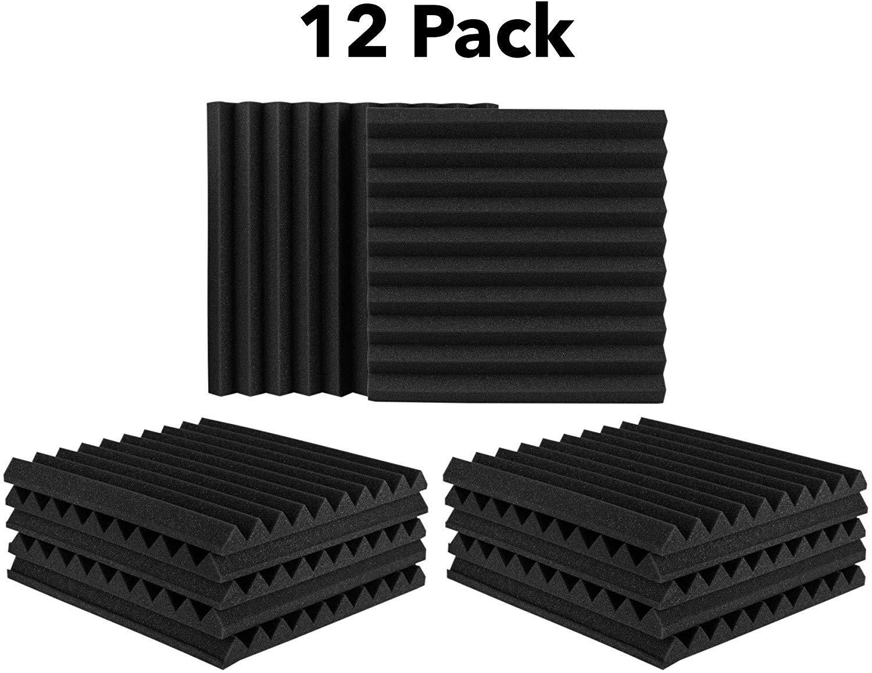 "12 Pack Set Acoustic Panels, 2"" X 12"" X 12"" Acoustic Foam Panels, Studio Wedge Tiles, Sound Panels wedges Soundproof Sound Insulation Absorbing 71BkYMYPJmL"
