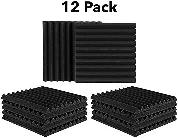 Amazon.com: Juego de 12 paneles acústicos, paneles de espuma ...
