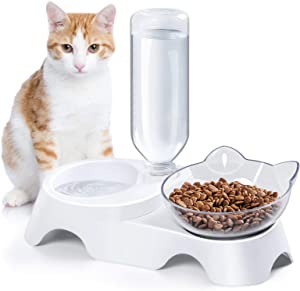 MILIFUN Double Dog Cat Bowls Pets Water and Food Bowl Set, Cat Bowls Food and Water with Automatic Waterer Bottle for Small or Medium Size Dogs Cats (White)