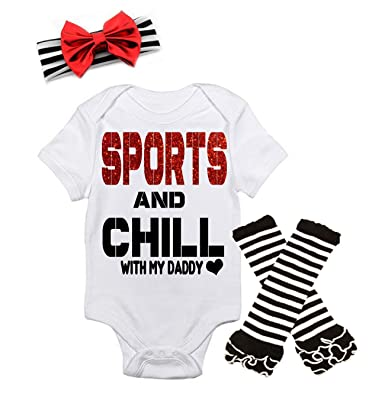 e1368d908 G&G - Cute Baby Girl Chill Daddy Father's Day Outfits W/Matching Headbands  (0