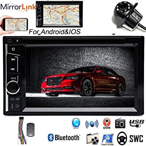 Double 2Din Car Radio with Backup Camera for Chrysler 300 300C 2005-2007, with Bluetooth 6.2inch Touchscreen Mirrorlink Steering Wheel Control USB TF MP3 MP5 CD DVD Player Receiver