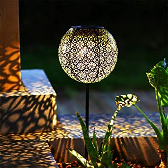Ulmisfee Solares Exteriores Luz Solar Luces Jardines Decorativas Lámpara Exterior Recargable Portátil para Jardín Patio Porche y Camino (Pelota): Amazon.es: Iluminación