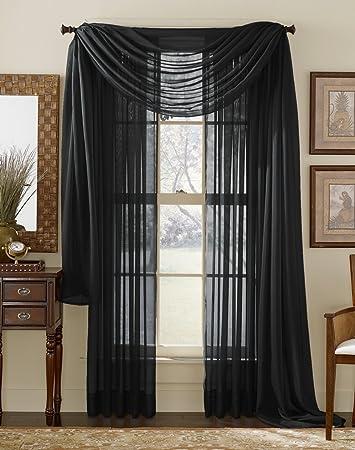 Amazon.com: LuxuryDiscounts 2 Piece Solid Black Elegant Sheer ...