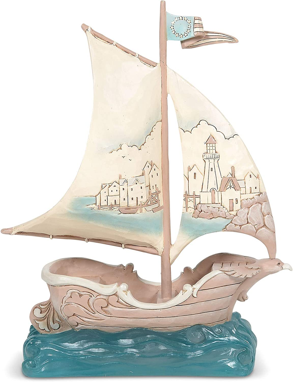 Enesco Jim Shore Heartwood Creek Coastal Sailboat with Scene Figurine