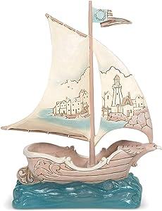 Enesco Jim Shore Heartwood Creek Coastal Sailboat with Scene Figurine