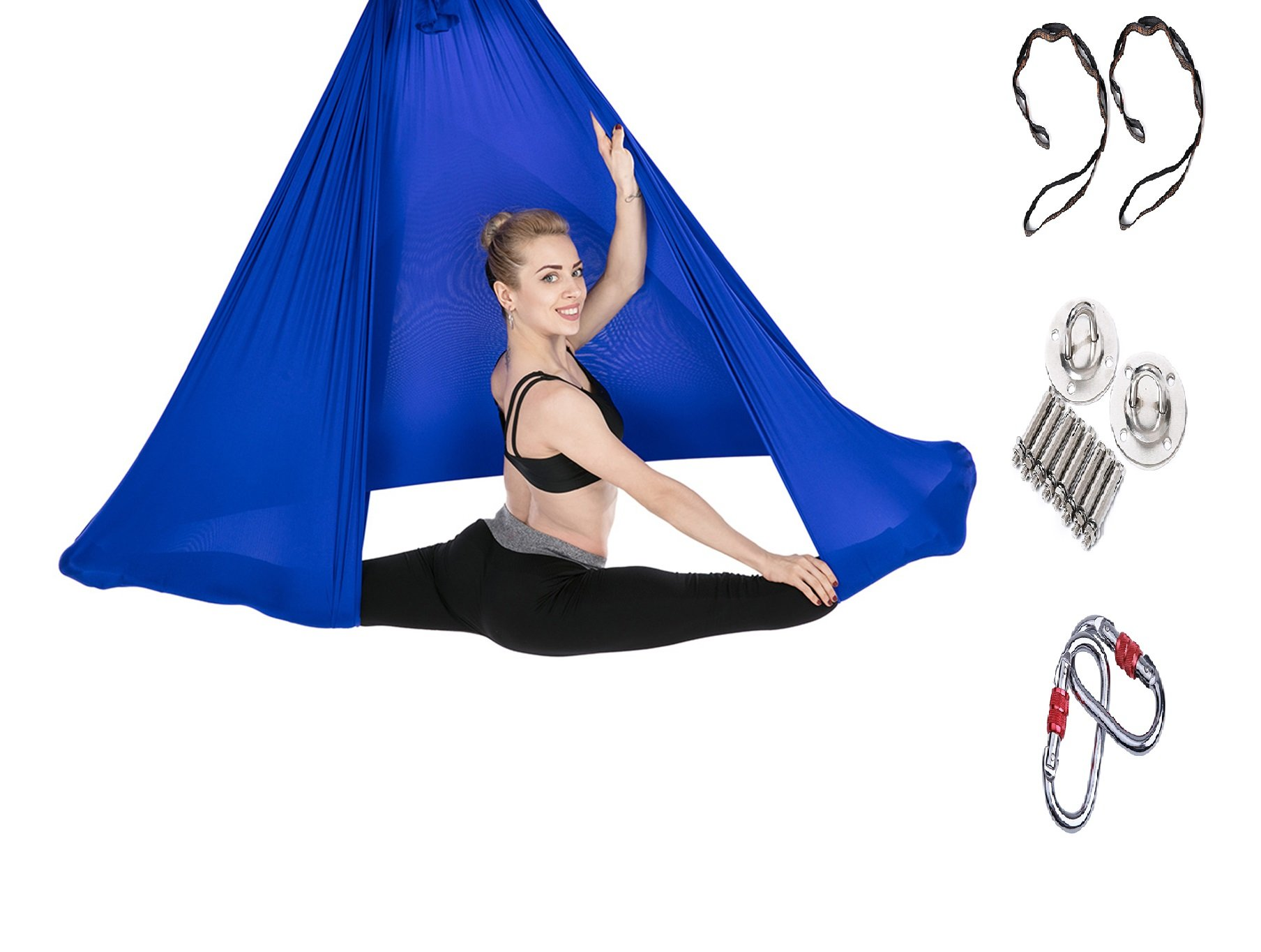 Tofern Aerial Yoga Hammock Kit 5.5 Yards Antigravity Trapeze Inversion Exercise Home Indoor Outdoor Yoga Silk Swing Sling Set with Hardware Ceiling Hooks Bolts 2 Extension Straps, Royal Blue by Tofern (Image #1)