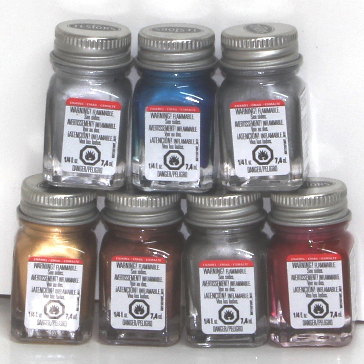 Amazon Testors Enamel Paints 7 Metallic Color Set 1 14 Oz