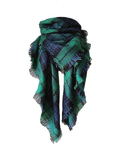 Tuopuda® Mujer Otoño Invierno Bufandas De Gran Tamaño Rectangular Tartán Bufanda Suave Scarves (verd...