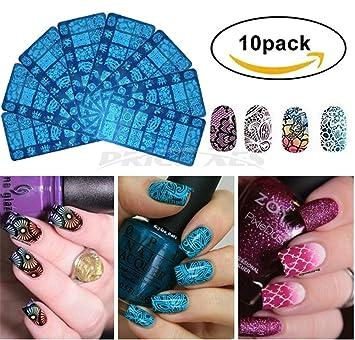 Amazon Nail Art Stamp Stamping Plates 10 Pcs Finger