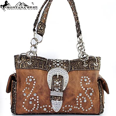 36443a1d8 Montana West Western Concealed Carry / Gun Pocket Classic Rhinestone  Gemstone Studded Buckle Turn Over Top
